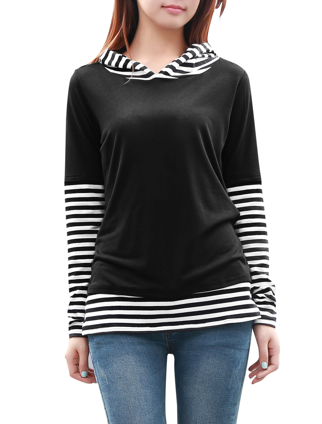 Woman Chic Stripes Pattern Black White Hooded Top Shirt S