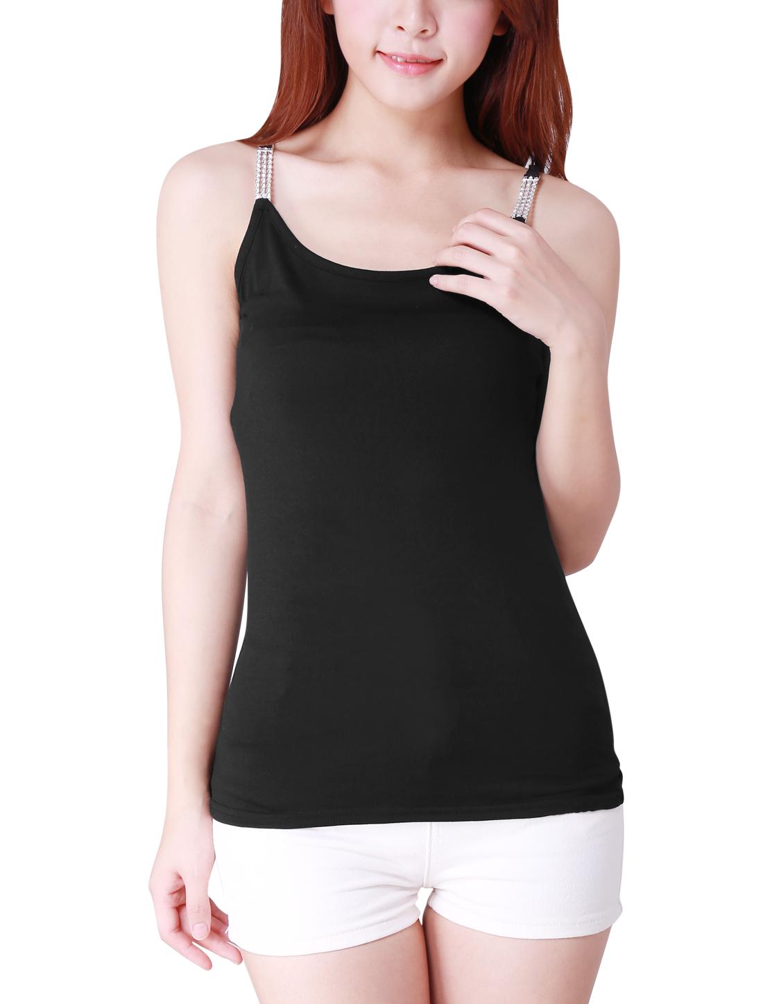 Women Chic Spaghetti Straps Design Slim Fit Pure Black Tank Top XL