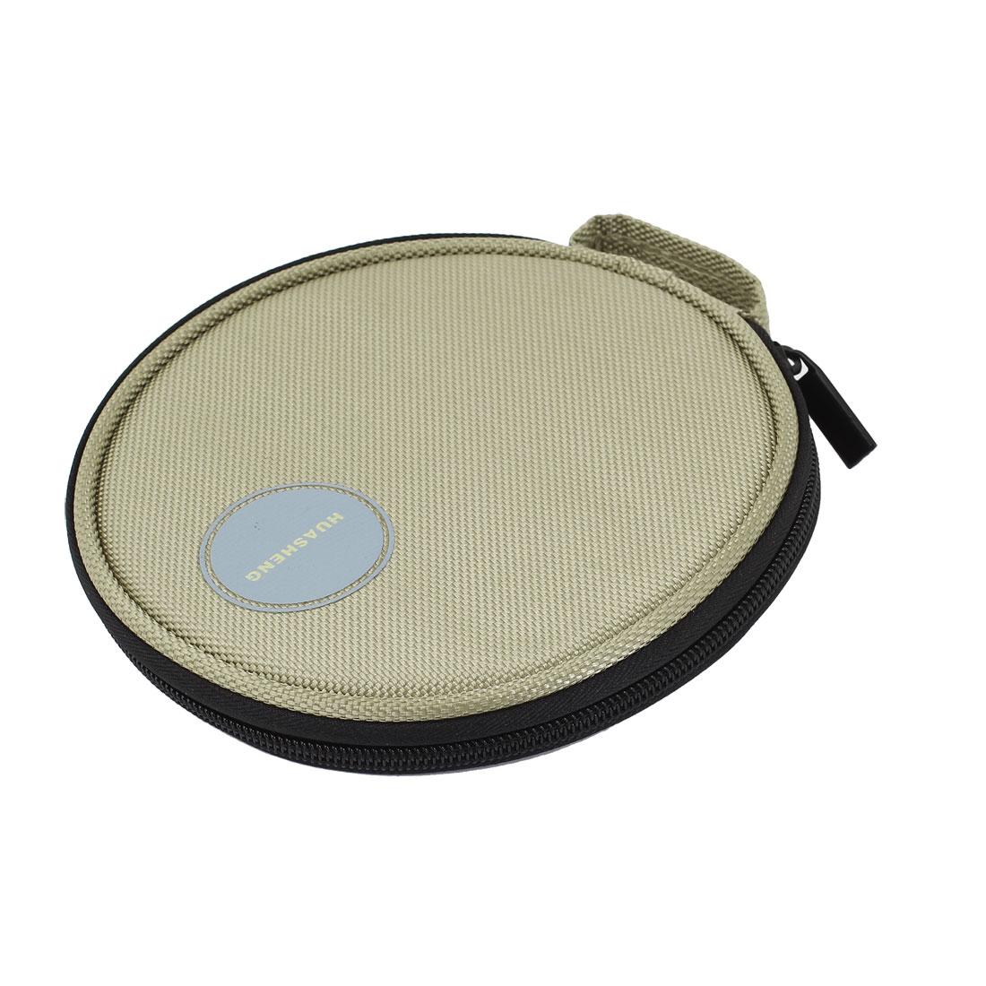 Khaki Nylon 20 Capacity CD VCD DVD Disc Storage Bag Organizer for Car