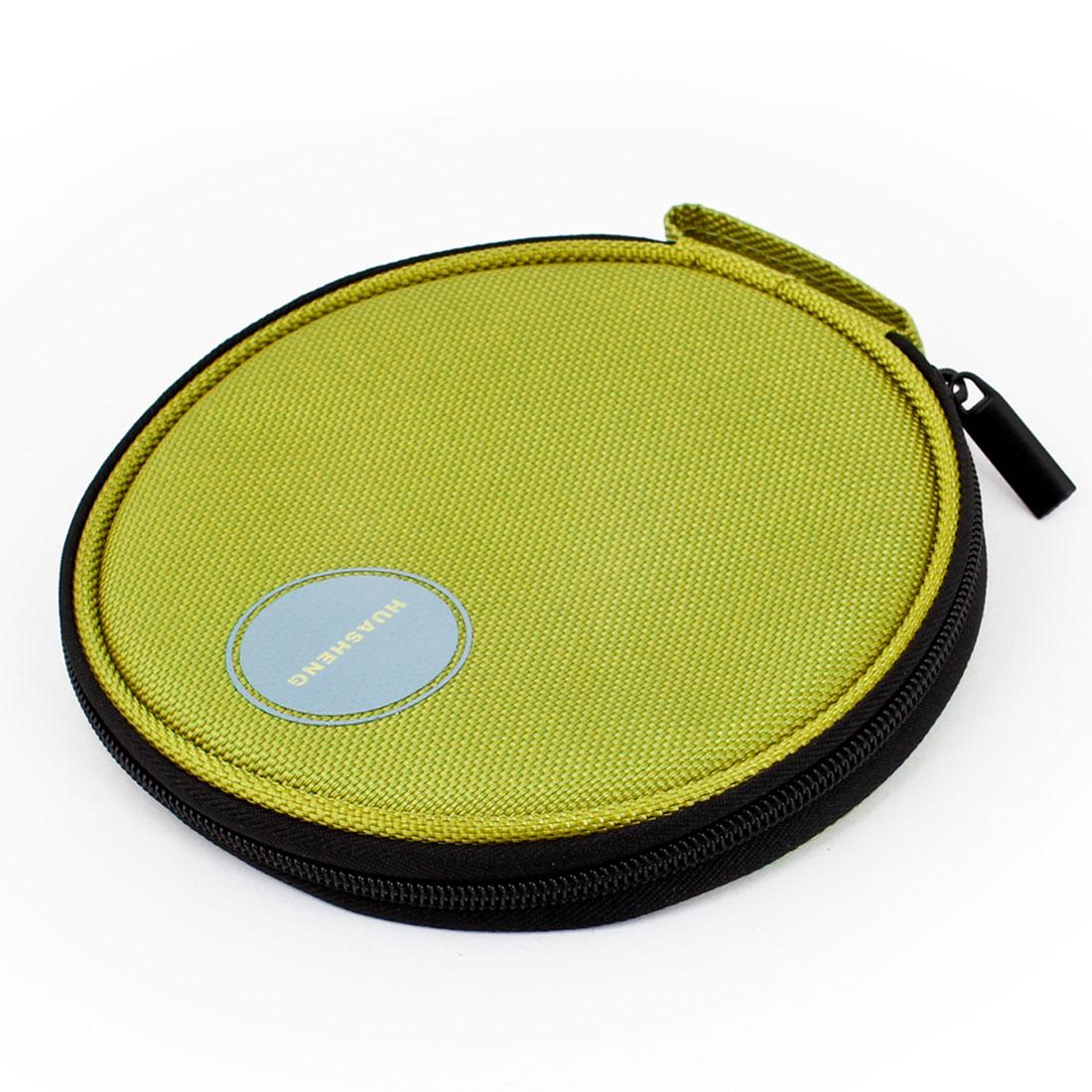 Green Nylon Zippered 20 Capacity CD VCD DVD Blu-Ray Sleeve Bag Holder