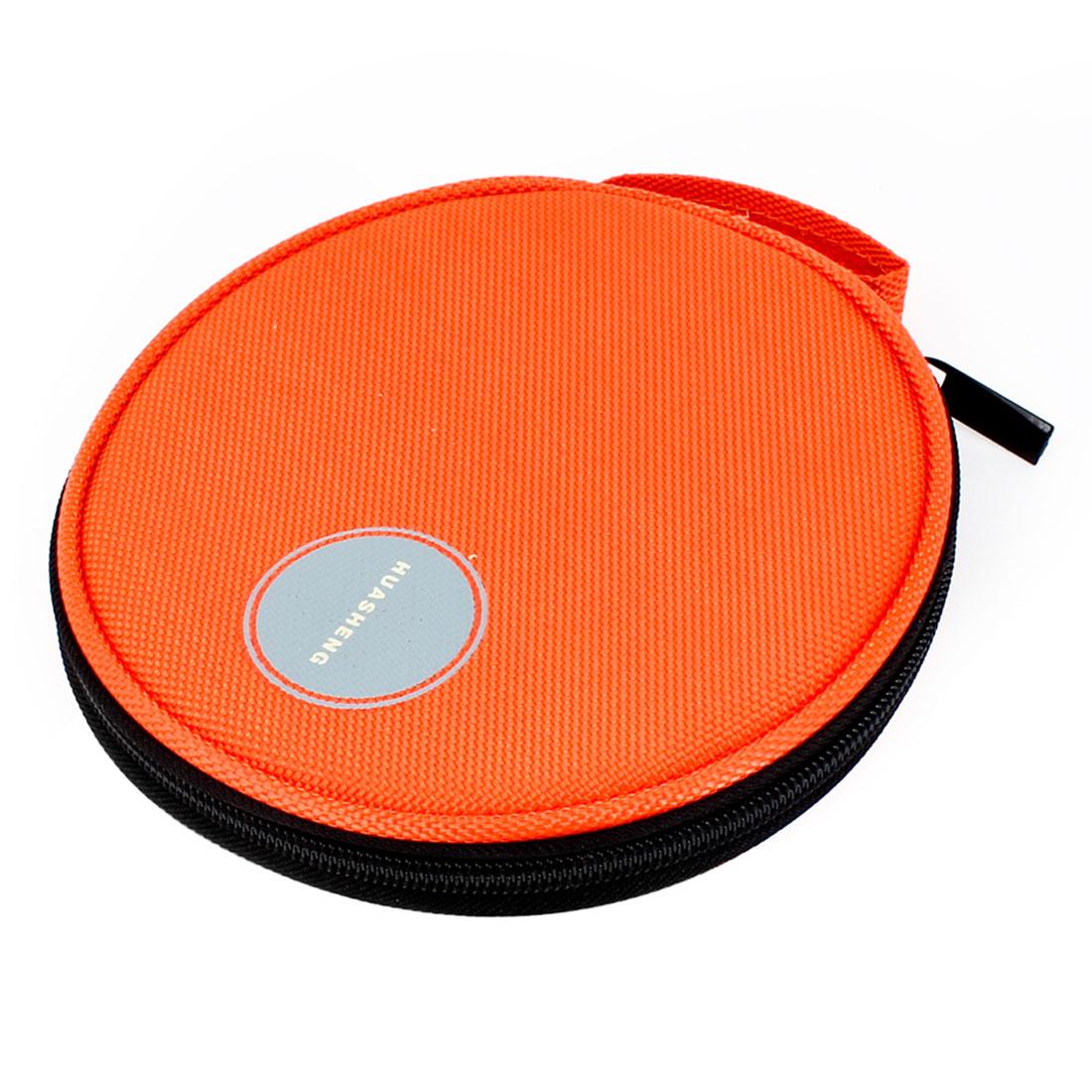 Orange Nylon 20 Capacity Zipper Closure CD DVD Holder Bag for Auto