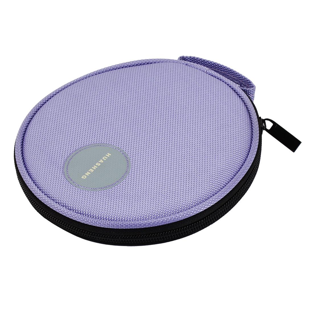 Purple Nylon Zippered 20 Capacity CD VCD DVD Blu-Ray Sleeve Bag Holder