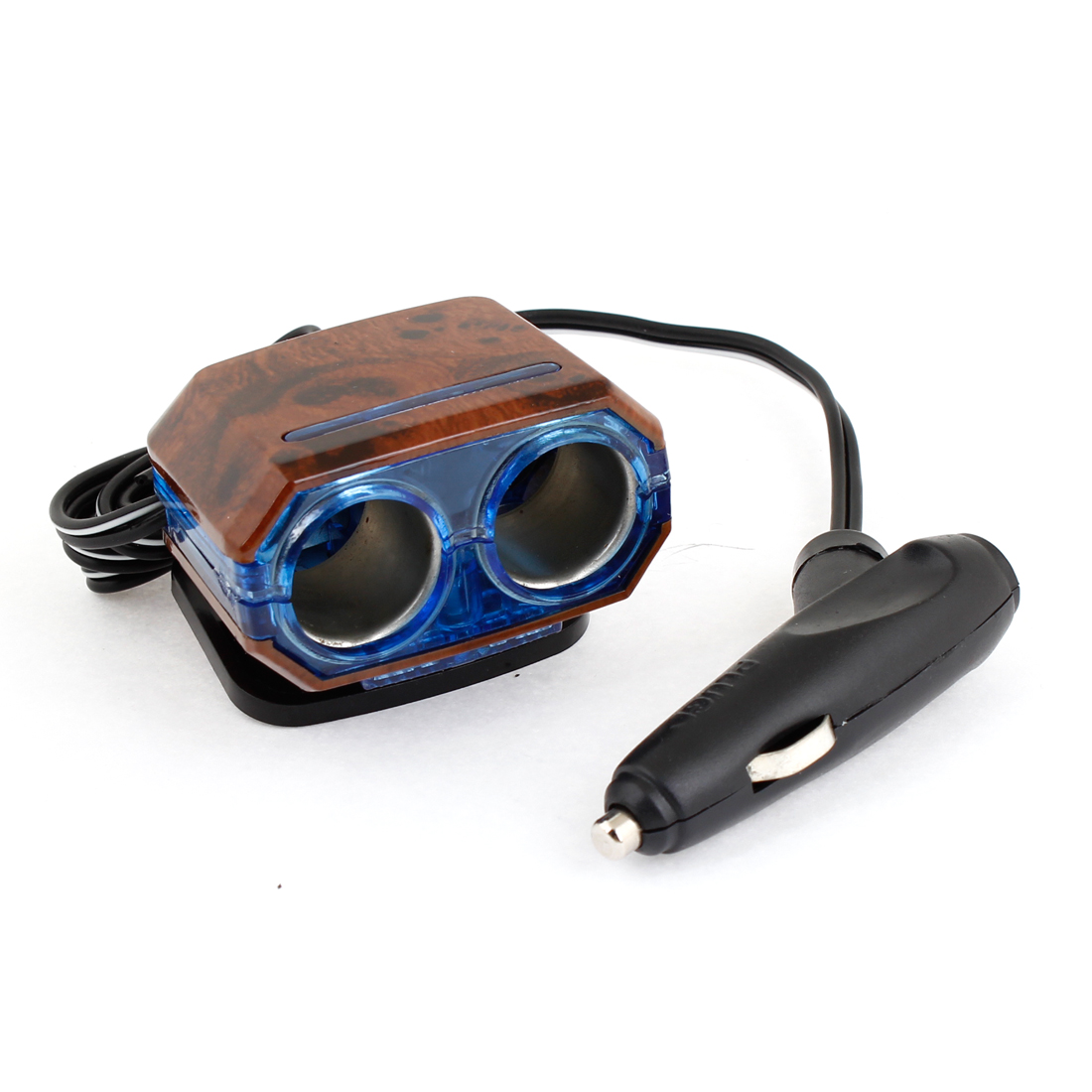 Auto Car Blue Wood Color 2 Way Socket Cigar Lighter Charger Adapter