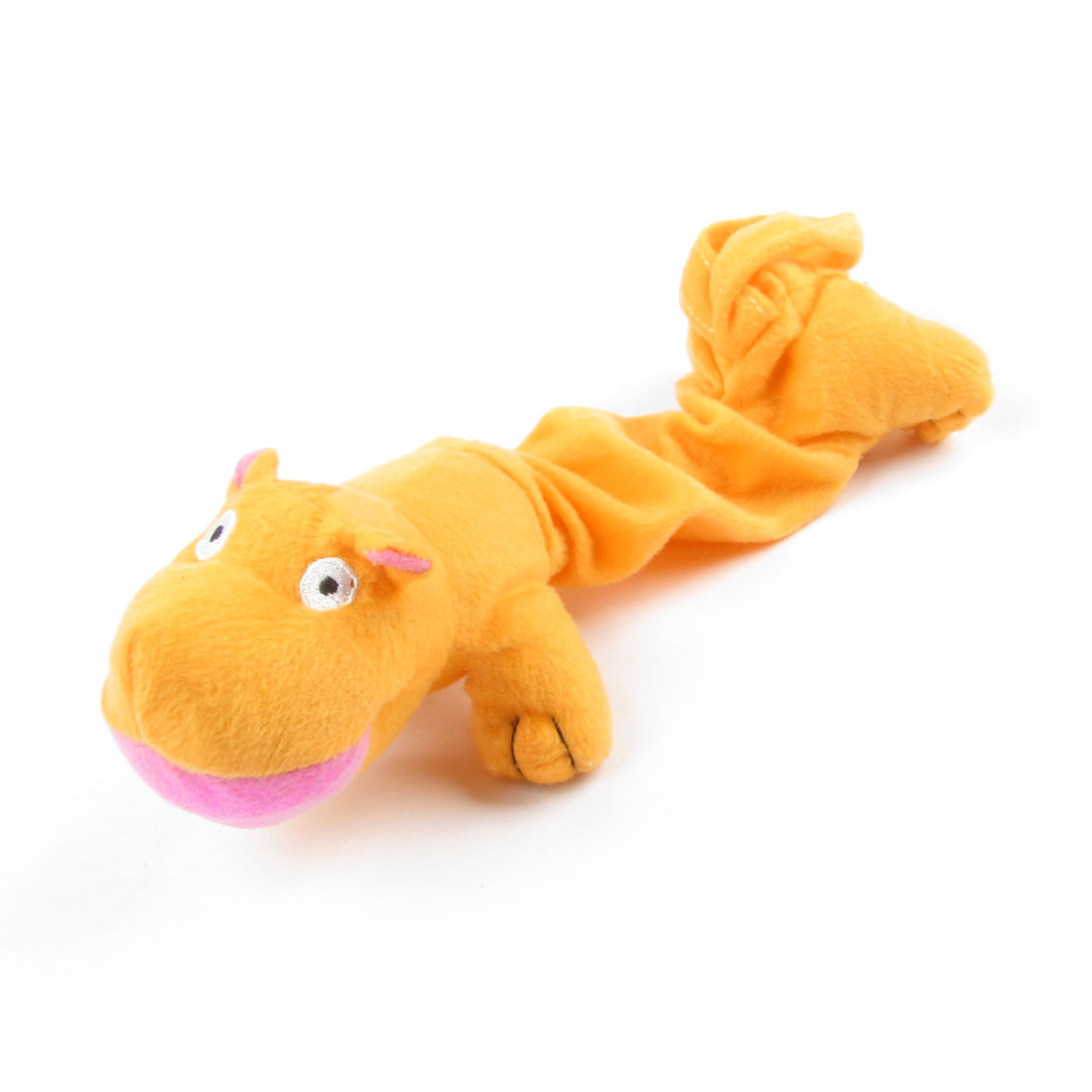 Orange Hippo Shape Black Eyes Plush Toy for Pet Dog Puppy