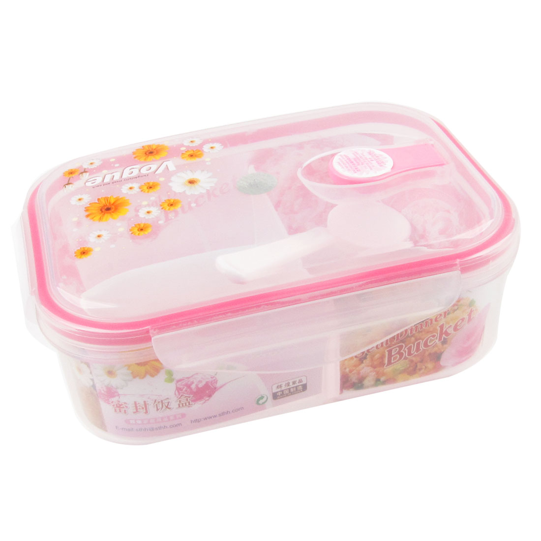 Plastic Lid Rectangle Food Container Dinner Case Pink Clear w Spoon