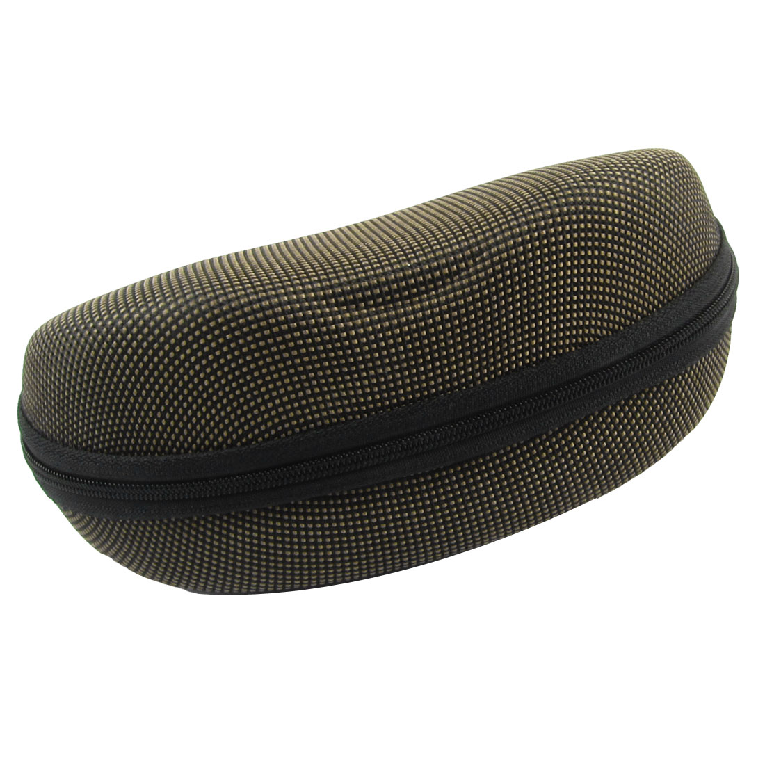 Yellow Black Nylon Oval Design Grid Pattern Eyewear Glasses Case Holder