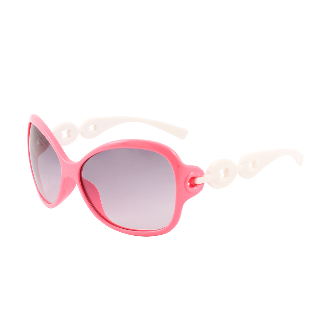 Children White Plastic Arms Full Frame Single Bridge Sunglasses