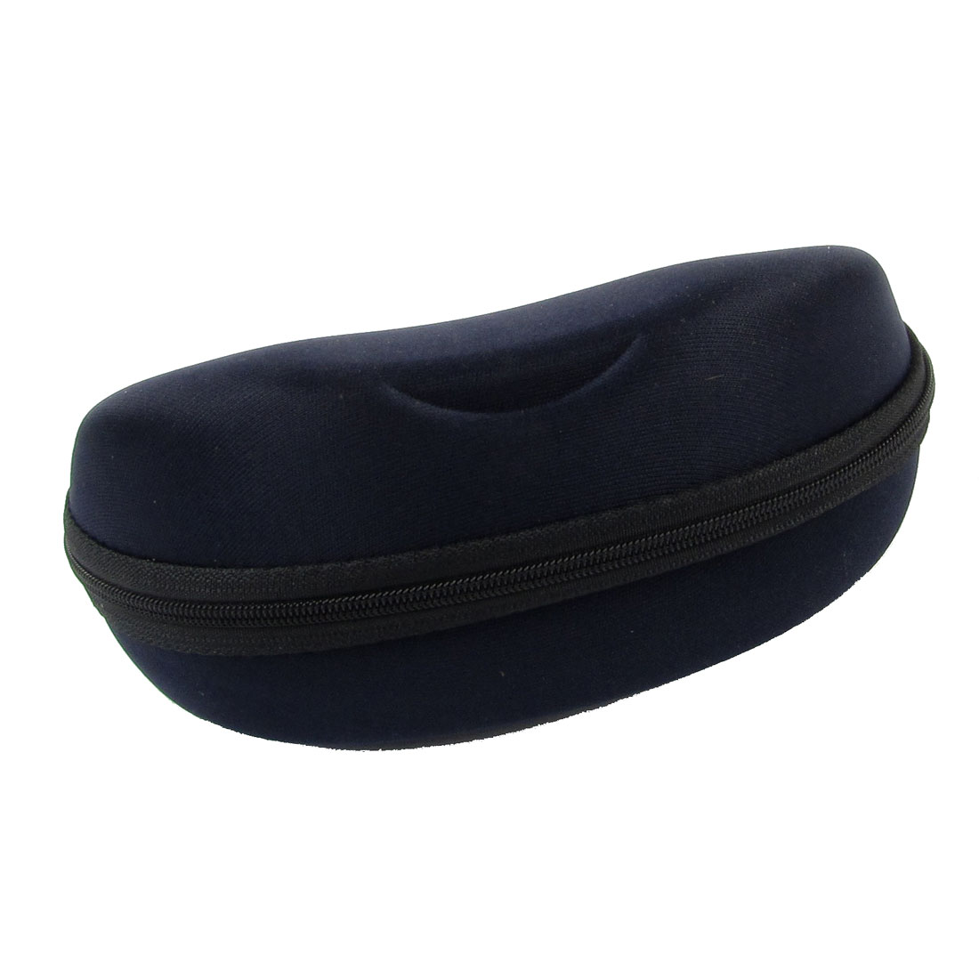 "Navy Blue Sunglasses Eyewear Safety Box Zipper Closure Case 2.8"" High"