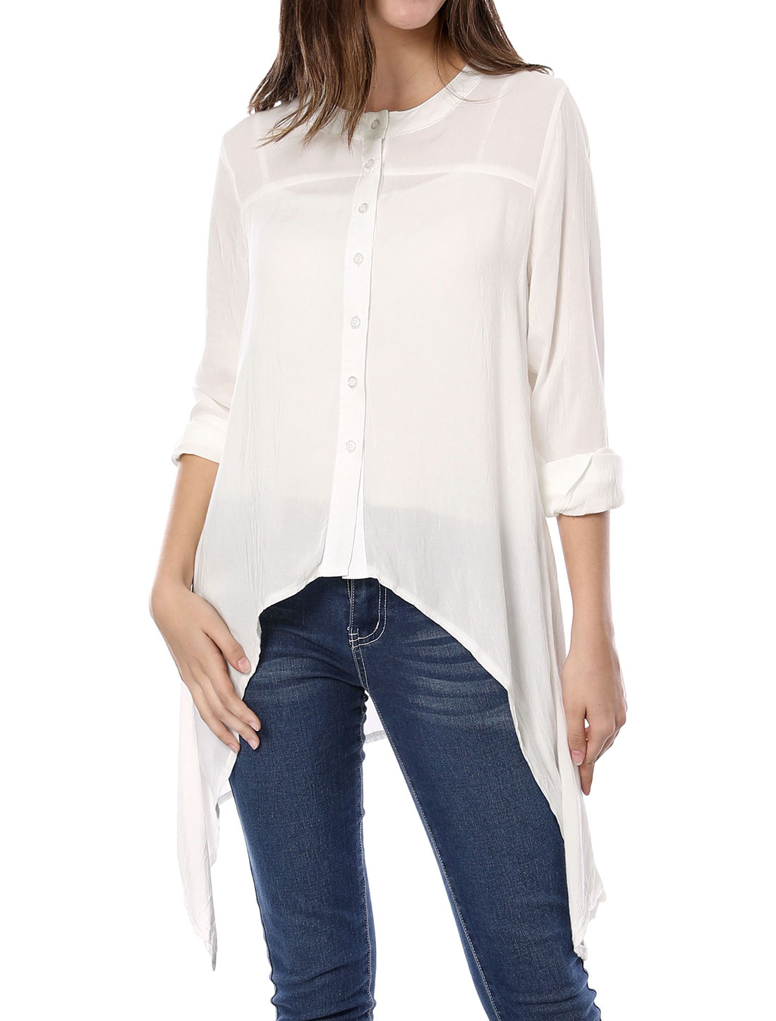 Single-Breasted Front Pure Off White Casual Blouse M for Lady