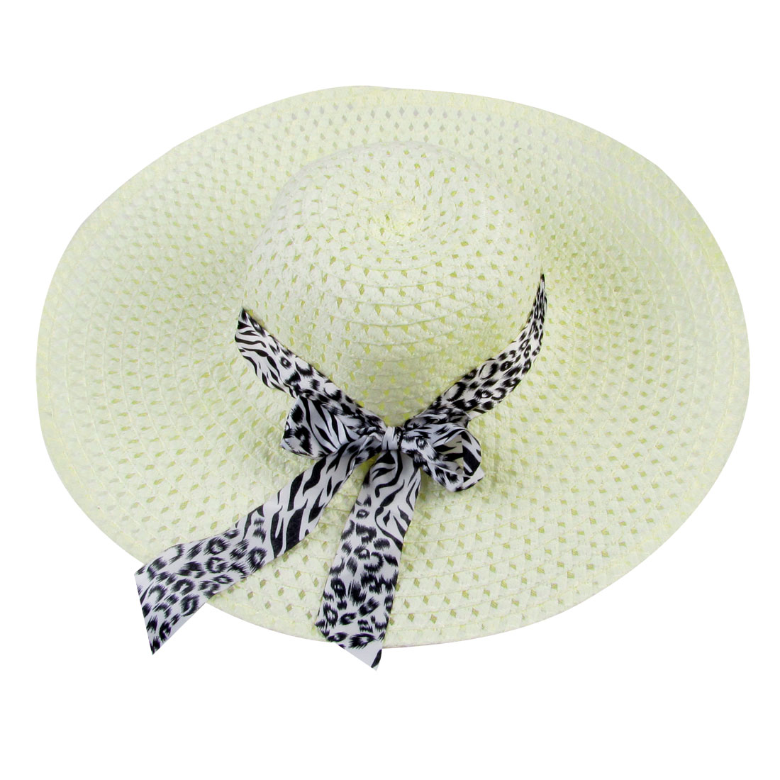 Summer Bowknot Band Decor Hollow Out Straw Beach Sun Hat Beige for Ladies