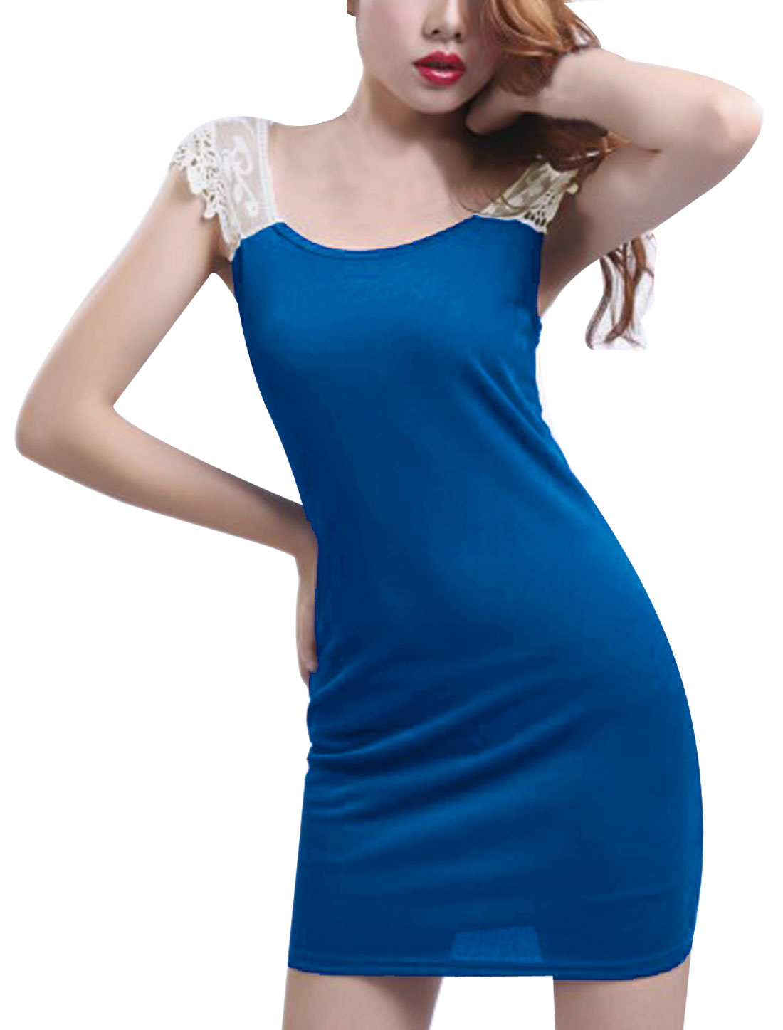 Women Chic Scoop Neck Crochet Lace Splice Blue Skinny Mini Dress L