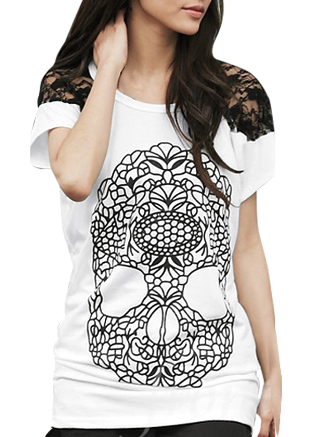 Lady Scoop Neck Short Raglan Sleeve Skull Pattern White T-Shirt L