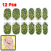 12 Pcs Black Brown Leopard Printed Green Yellow Nail Wrap Foils Art Stickers