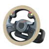 38cm Dia Mesh Design Beige Faux Leather Steering Wheel Cover Wrap for Car