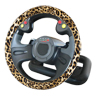 36cm Dia Leopard Pattern Faux Leather Steering Wheel Cover Wrap for Car