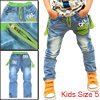 Boys Stylish Stretchy-Waist Comfortable Letter Prints Long Jeans Blue 5
