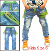 Boys Elastic-Waist Comfortable Zip Pocket Decor Letter Prints Blue Jeans 6