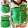 Boys Girls Convertible Collar Design Button Down Green Padded Vest 6