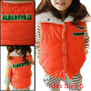 Convertible Collar Letters Panel Design Orange Padded Vest for Kids