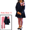 Girls Autumn Pullover Shirt & Stretchy Waist Pants Navy Blue Red 5