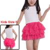 Girls Elastic Waist Mesh Panel Tiered A Line Skirt Fuchsia 5