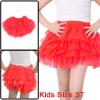 Girls Elastic Waist Mesh Panel Tiered A Line Skirt Watermelon Red 3T