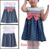 Girls Chic Cap Sleeve Dots Pattern Design Blue Babydoll Denim Dress 3T