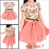 Stylish Girls Floral Pattern Upper Tiered Mesh Splice Pink Dress 7