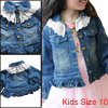 Stylish Girls Lace Panel Panel Button Down Front Blue Denim Coat 10
