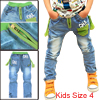 Child Fashion Elastic Waist Panel Design Letter Prints Long Jeans Blue 4