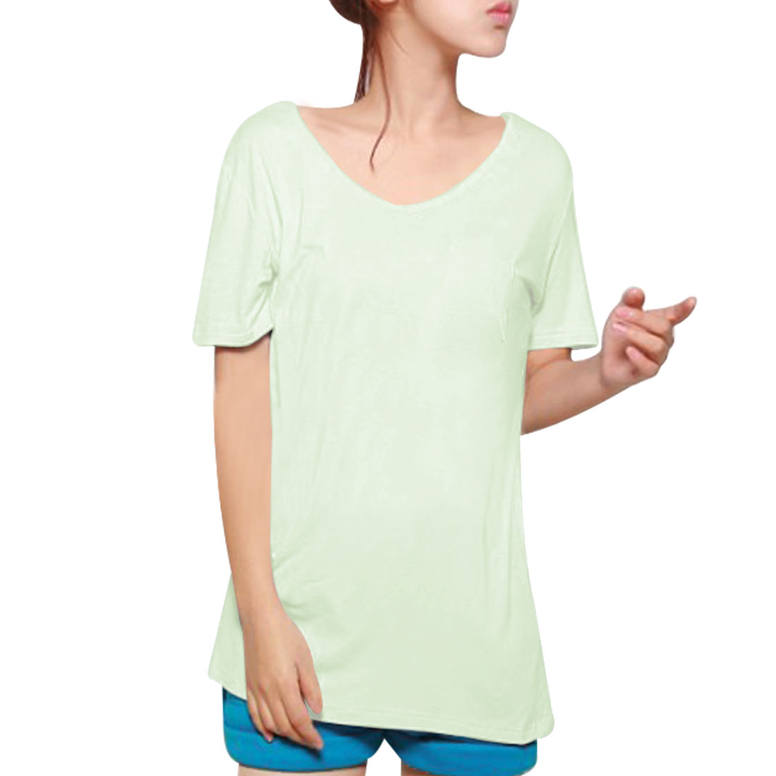 Woman Pullover Pure Pale Green Simple Design Loose T-Shirt XS