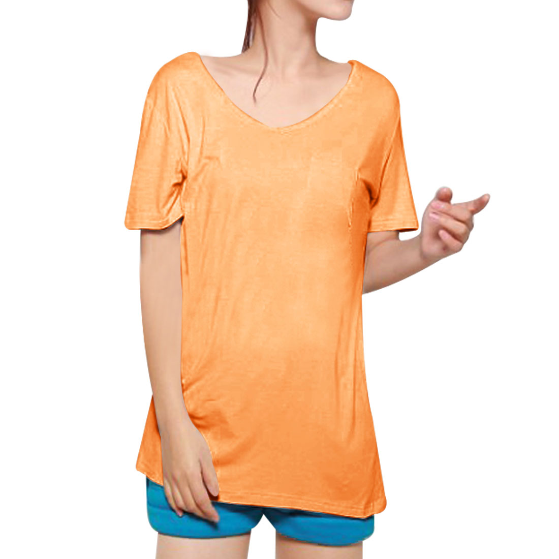 Patch Pocket Orange Candy Color T-Shirt Blouse XS for Women
