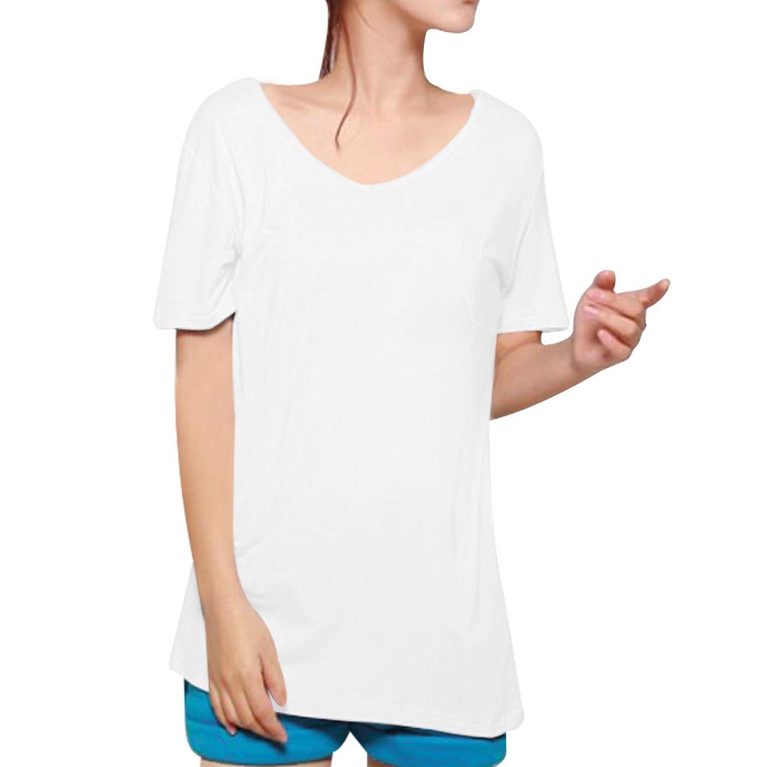 Ladies Summer Leisure V Neck Short Sleeve T-Shirt White XS