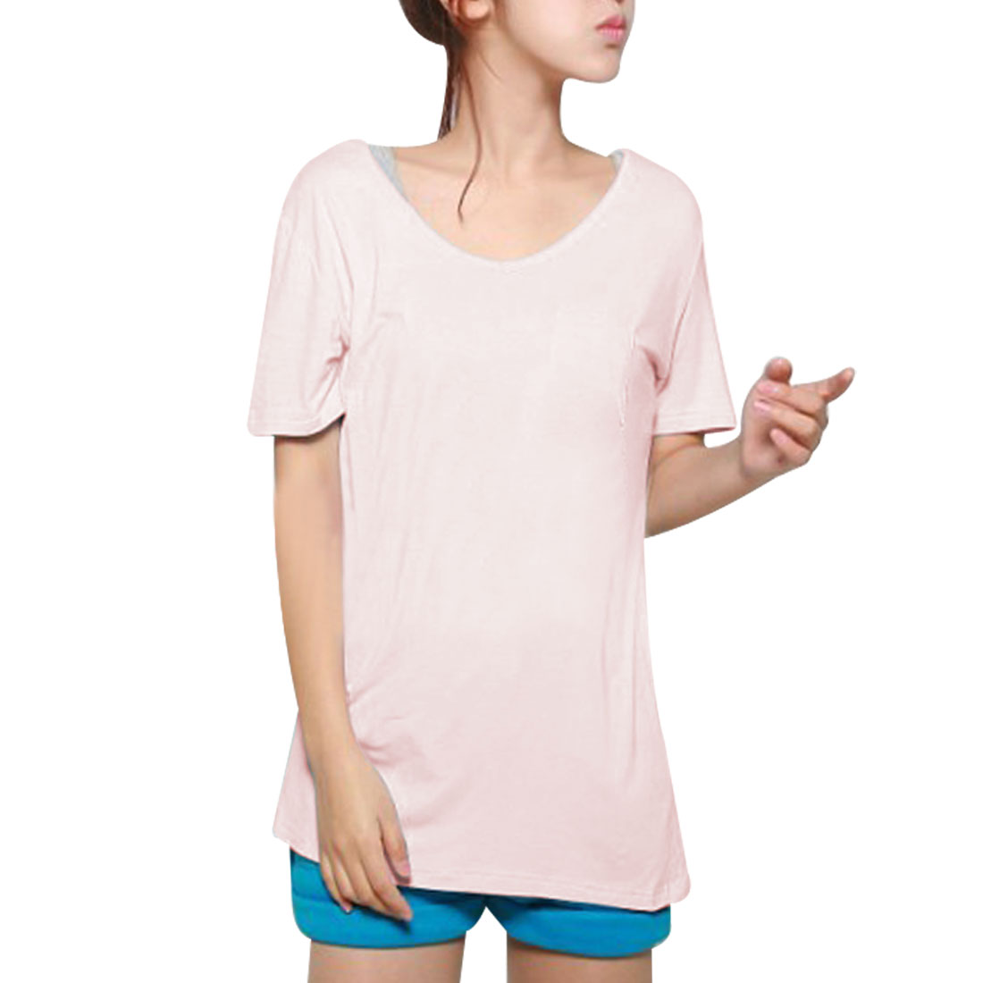 Woman Pullover Solid Pink Simple Design Loose T-Shirt XS
