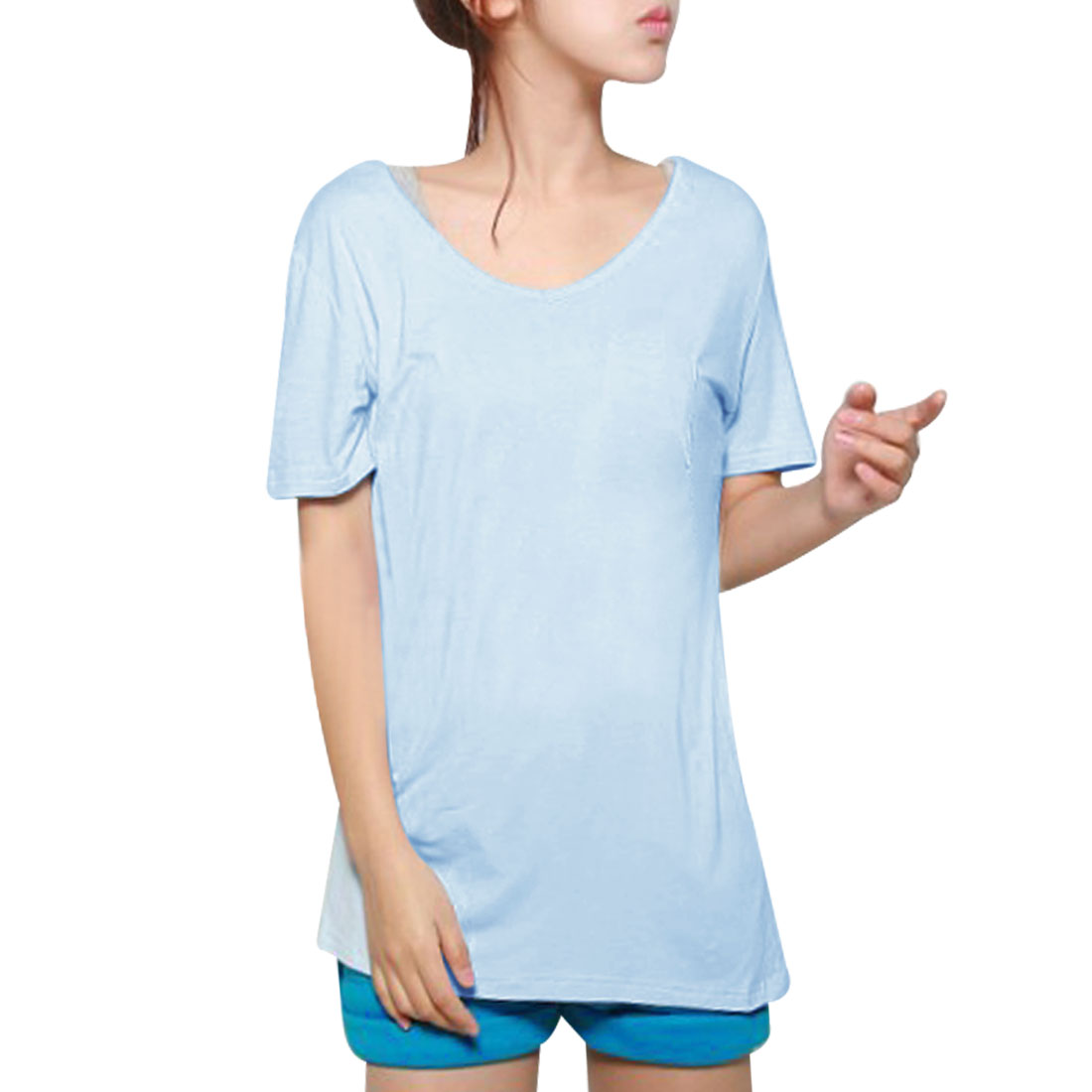 Ladies Summer Leisure V Neck Short Sleeve T-Shirt Pale Blue XS