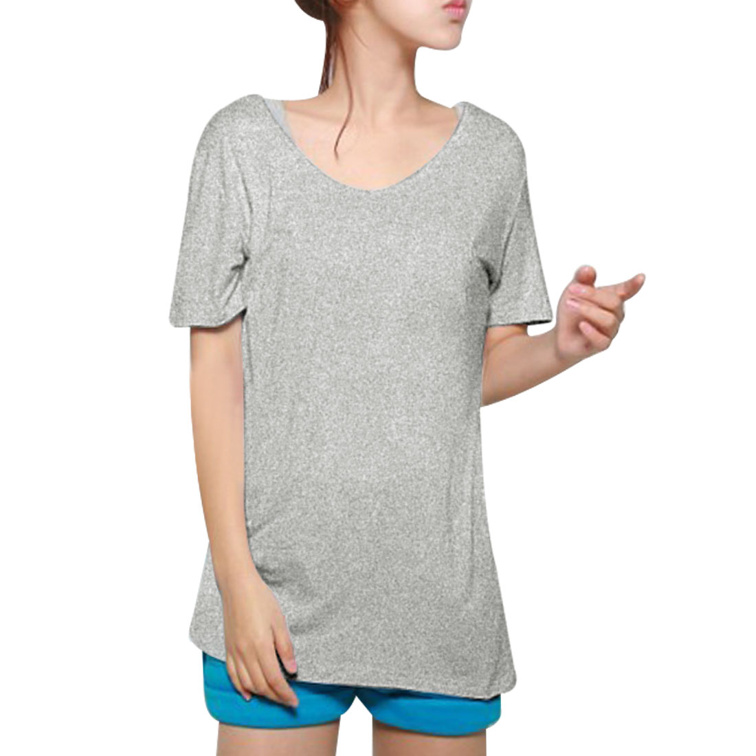 Ladies Summer Leisure V Neck Short Sleeve T-Shirt Gray XS
