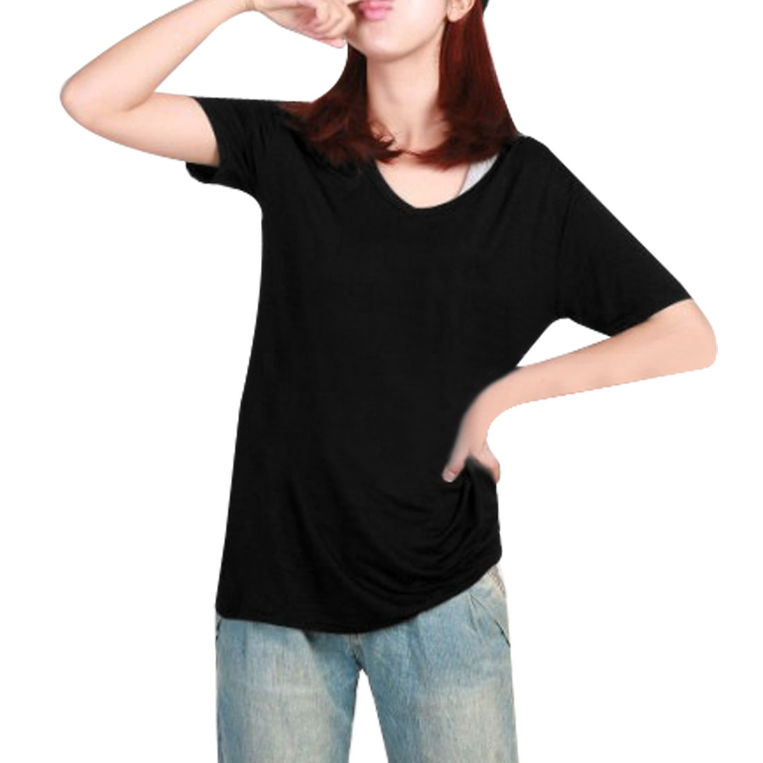 Patch Pocket Black Candy Color T-Shirt Blouse XS for Women