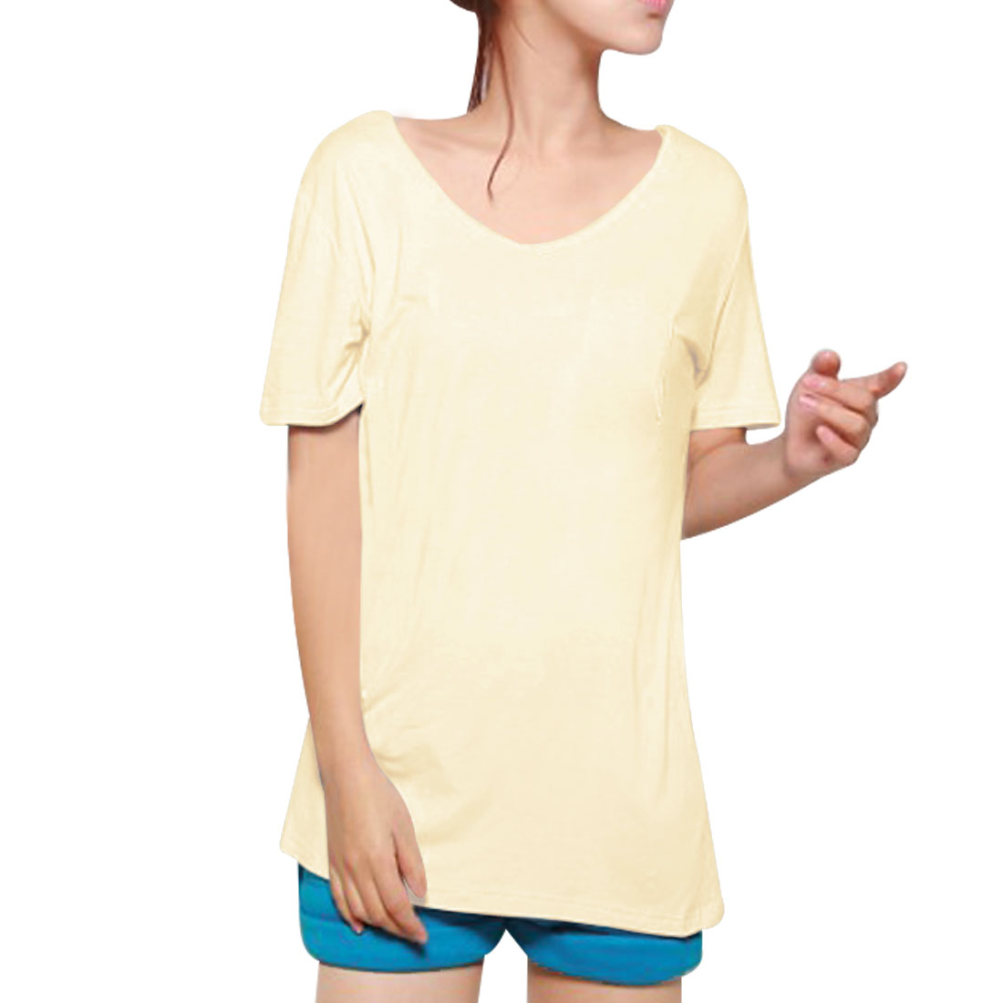 Pullover Pure Beige Simple Design Loose T-Shirt XS for Woman