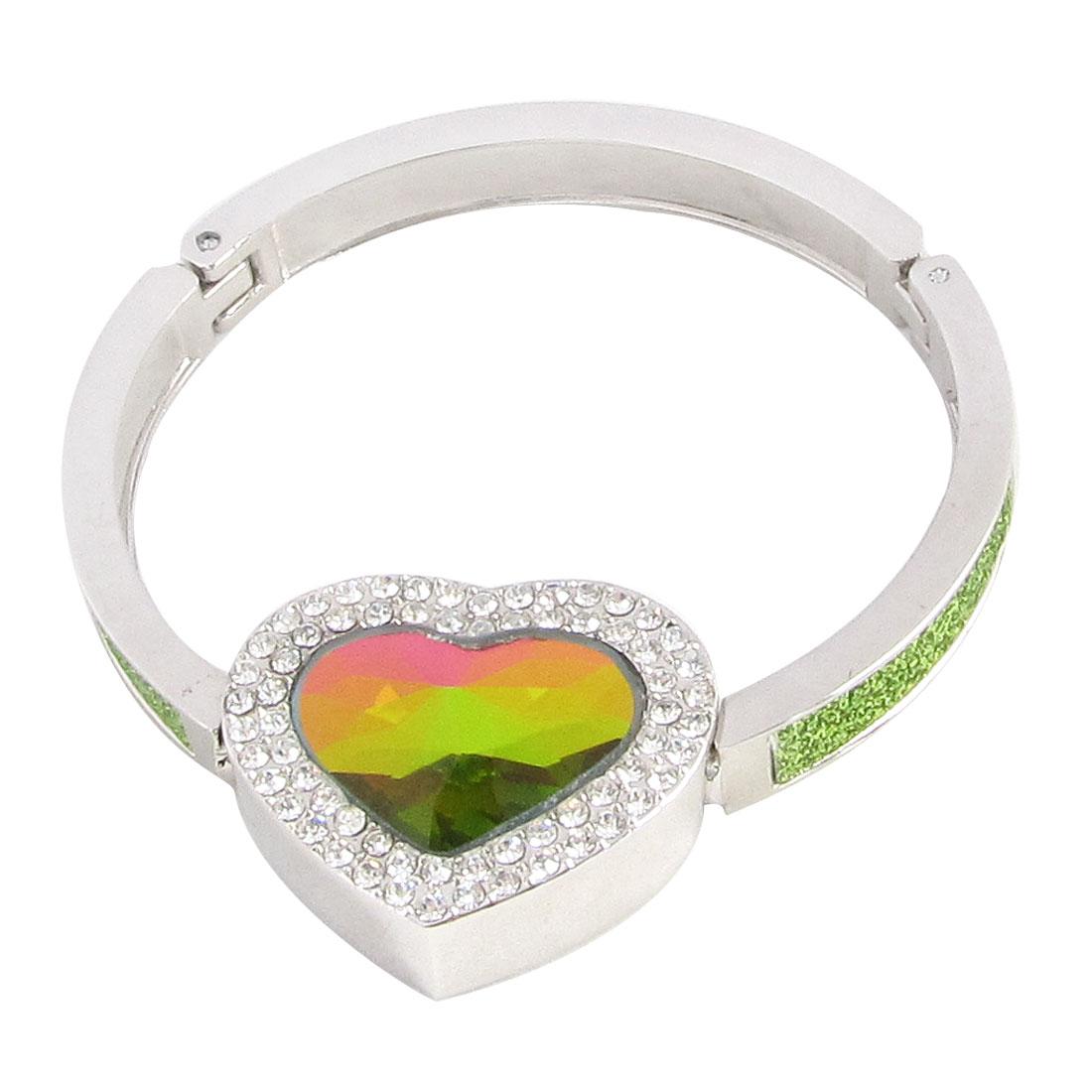 Faceted Heart Shape Crystal Detail Foldable Handbag Padlock Hook Green for Lady