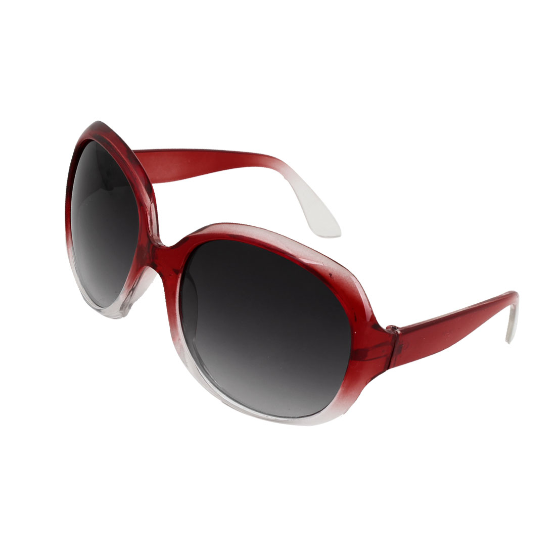 Oversized Round Shape Gradient Lens Red Clear Rimmed Sunglasses for Unisex