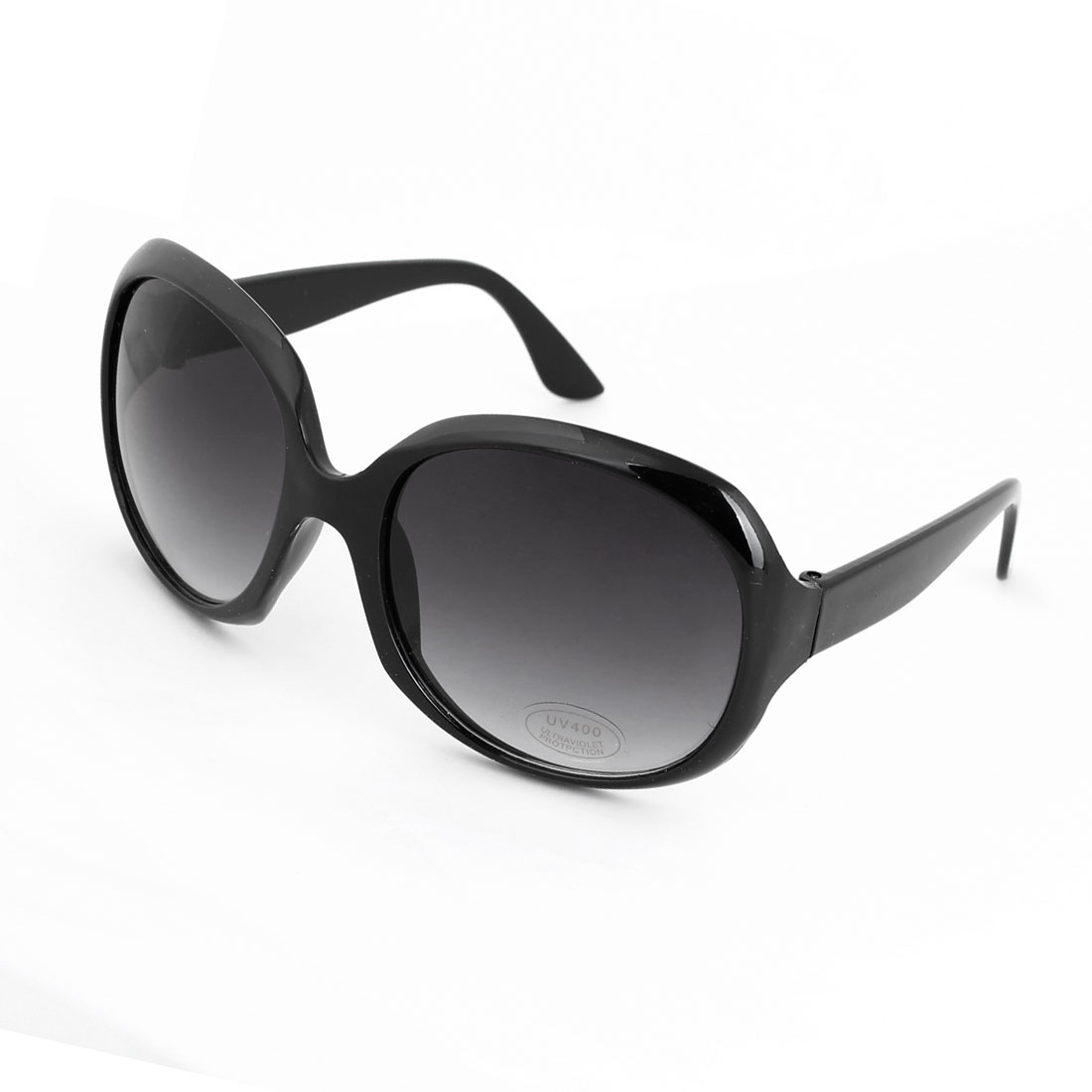 Unisex Black Plastic Full Frame Single Bridge Oversized Colored Lens Sunglasses