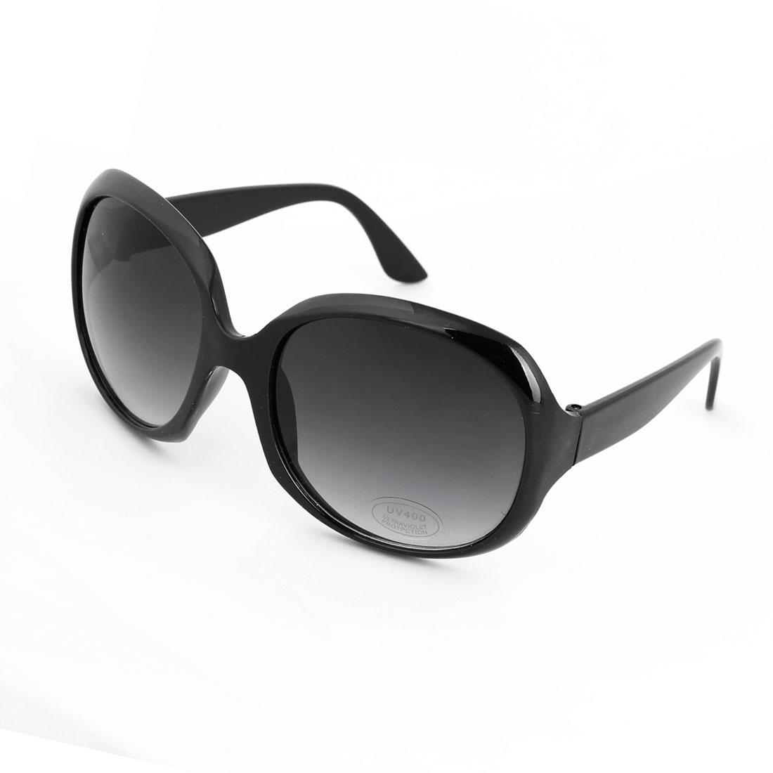 Unisex Black Plastic Full Frame Single Bridge Oversized Colored Lens Sunglasses