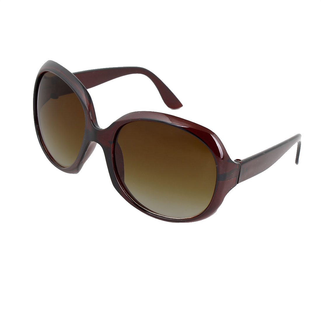 Unisex Coffee Color Plastic Full Frame Single Bridge Oversized Lens Sunglasses