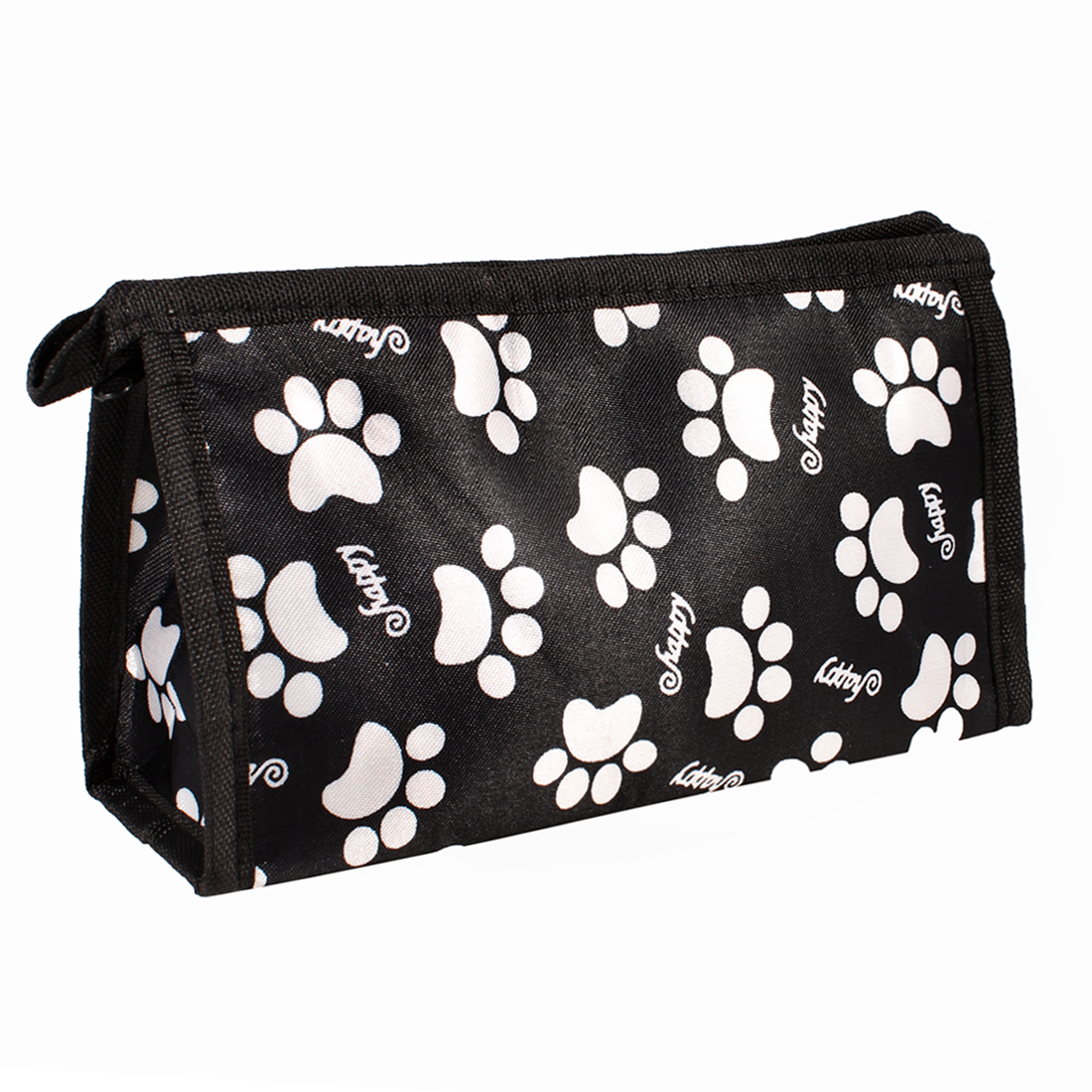 White Dog Paw Pattern Black Zipper Closure Makeup Cosmetic Pouch Bag