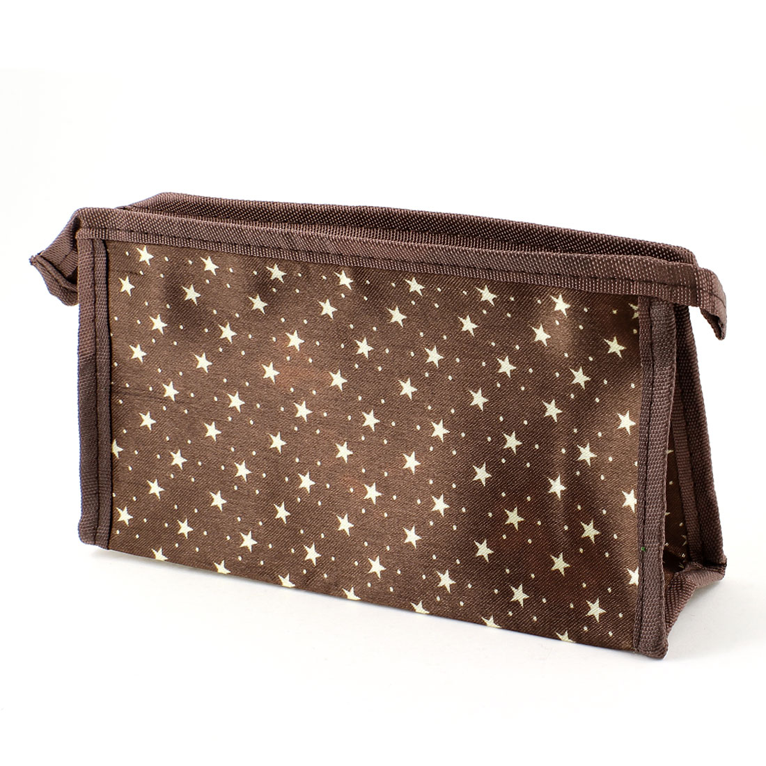 Off White Pentagram Dots Printed Zip Up Brown Comestic Bag for Women