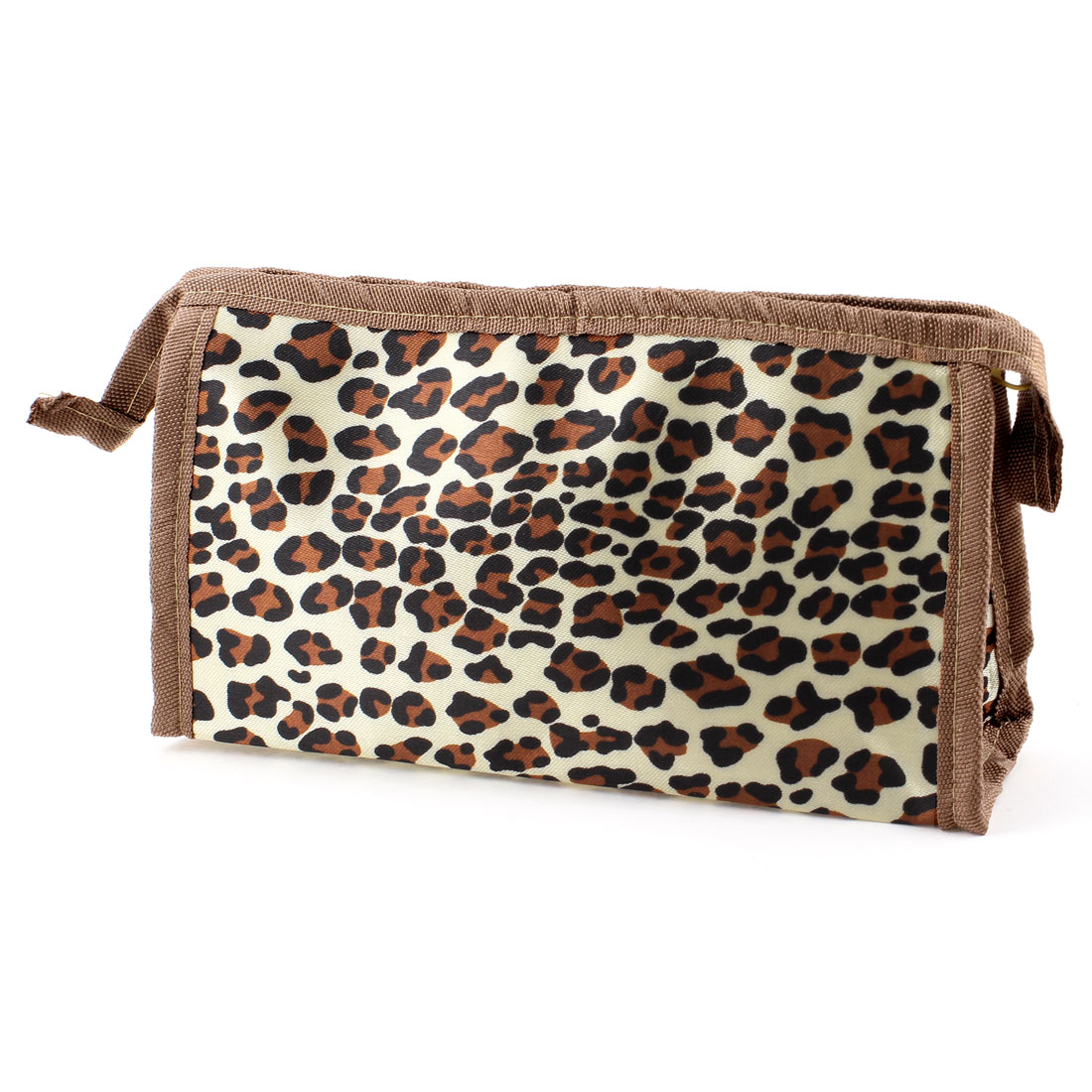 Lady Zippered Leopard Prints Rectangle Beige Cosmetic Bag Holder