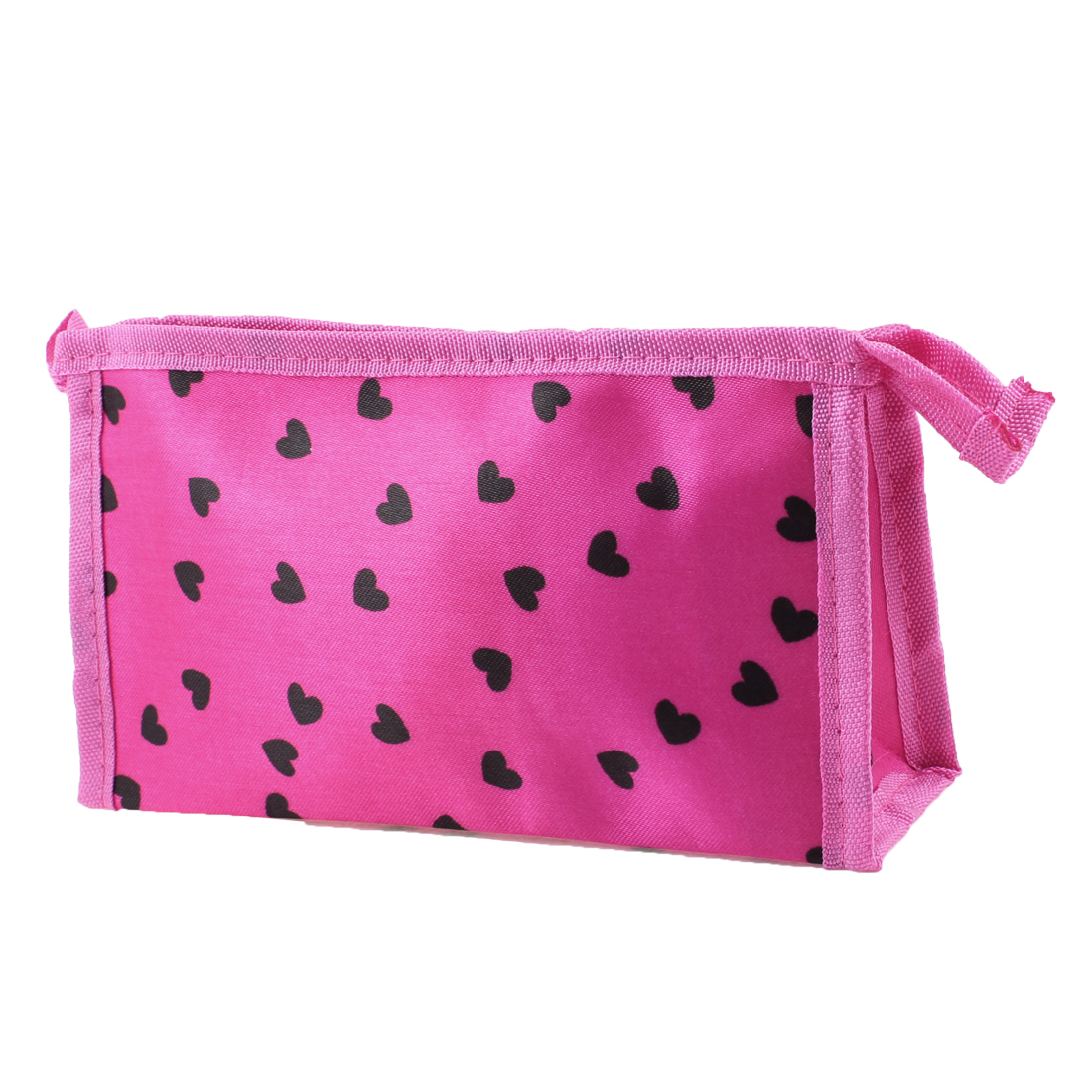 One Compartment Zip Up Black Heart Printed Fuchsia Cosmetic Bag for Lady
