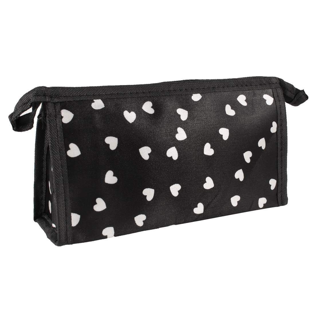 White Hearted Pattern Black Zip Up Retangular Shape Cosmetic Bag for Women