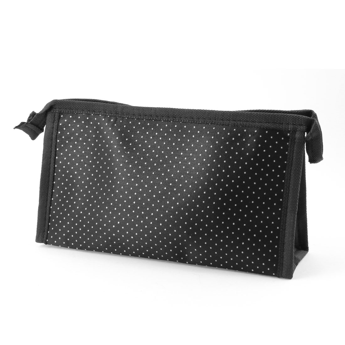 Women Zipper Closure White Dots Pattern Cosmetic Pouch Bag Black