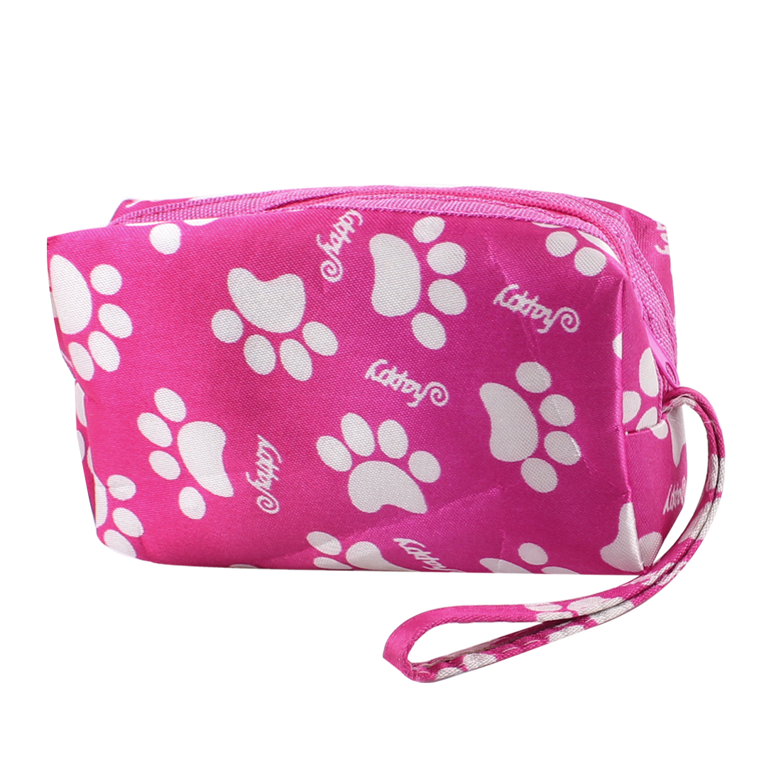 White Paw Letter Prints Zipper Closure Fuchsia Wallet Purse Bag for Lady